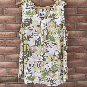 J. Jill size XL foliage print, sleeveless blouse